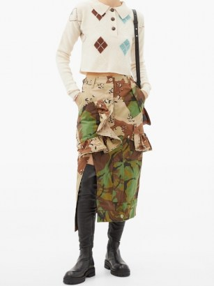 PREEN BY THORNTON BREGAZZI Floral upcycled camouflage cotton-blend midi skirt ~ ruffled camo skirts - flipped