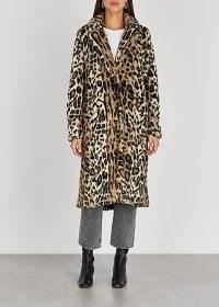 FREE PEOPLE Chloe leopard-print faux fur coat – winter glamour – wild animal print coats – glamorous outerwear