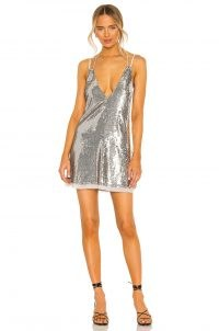 Free People Double Take Sequin Mini Dress in Silver Shimmer – strappy plunge front party dresses