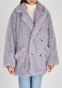 FREE PEOPLE Honeypie faux shearling coat | lilac fluffy winter coats | textured outerwear