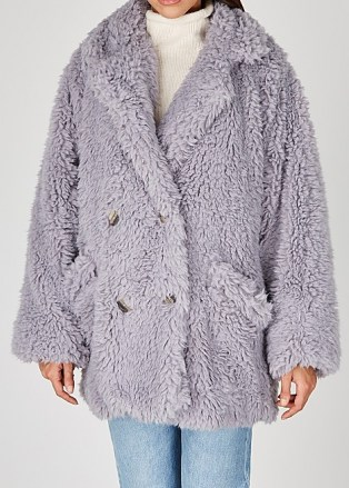 FREE PEOPLE Honeypie faux shearling coat   lilac fluffy winter coats   textured outerwear - flipped