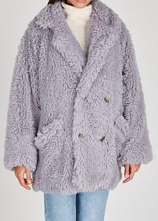 FREE PEOPLE Honeypie faux shearling coat   lilac fluffy winter coats   textured outerwear