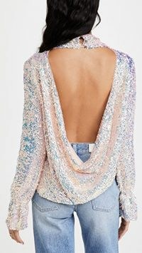 Free People Moonstruck Top lilac glow ~ draped open back sequinned tops ~ evening fashion ~ sparkly party wear