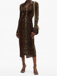 VERSACE Gathered snake-print jersey midi dress / reptile prints / front gathered dresses
