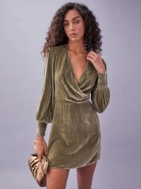 REFORMATION Gem Dress in Artichoke ~ green velvet plunge front party dresses ~ wrap style evening fashion