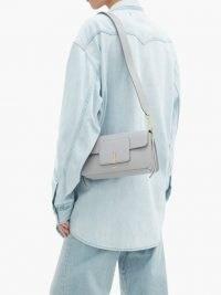 WANDLER Georgia leather shoulder bag in light-grey