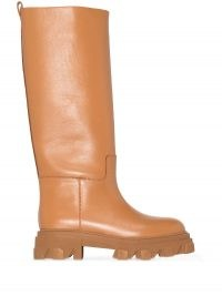 Gia Couture x Pernille Teisbaek 07 leather knee-high boots in caramel-brown / chunky sole boot