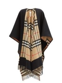 BURBERRY Giant-check cashmere and wool-blend cape ~ checked fringe trim capes