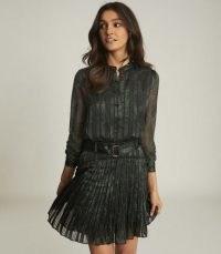 REISS GILLIAN SNAKE-PRINT MINI DRESS BLACK / pleated dresses
