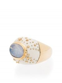 Bibi van der Velden 18K yellow gold Galaxy opal ring / chunky celestial inspired statement rings / opals / luxe jewellery
