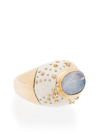 Bibi van der Velden 18K yellow gold Galaxy opal ring / chunky celestial inspired statement rings / opals / luxe jewellery - flipped
