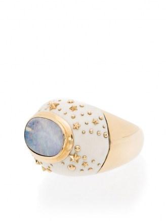 Bibi van der Velden 18K yellow gold Galaxy opal ring / chunky celestial inspired statement rings / opals / luxe jewellery