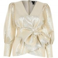 RIVER ISLAND Gold long sleeve bow peplum top ~ party tops ~ evening glamour ~ metallic blouses