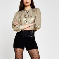 RIVER ISLAND Gold long sleeve metallic bow blouse top / shimmering neck tie blouses