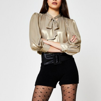 RIVER ISLAND Gold long sleeve metallic bow blouse top / shimmering neck tie blouses - flipped