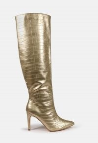 MISSGUIDED gold mid heel knee high boots