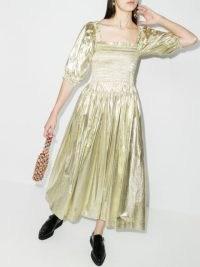 Molly Goddard Camilla shirred dress ~ metallic gold-tone dresses ~ smocked bodice