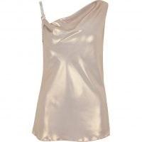 RIVER ISLAND Gold sleeveless diamante strap cami top ~ draped neck evening tops ~ party fashion ~ asymmetric neckline