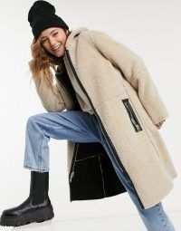 Goosecraft reversable suede and borg coat with hood in black and cream ~ textured winter coats