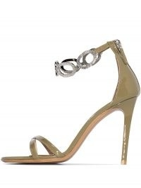Alexandre Vauthier Bella 100mm chain strap sandals in khaki green patent-leather