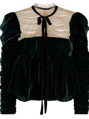 Khaite The Fanny velvet blouse / emerald green ruched detail blouses / romantic style tops / vintage look clothing - flipped