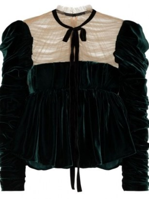 Khaite The Fanny velvet blouse / emerald green ruched detail blouses / romantic style tops / vintage look clothing