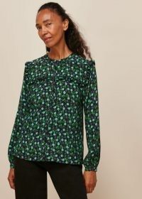 WHISTLES WINTER DITSY PRINTED TOP GREEN MULTI / feminine floral frill trimmed tops