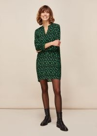 WHISTLES WINTER DITSY SACK DRESS / small floral prints / green loose fit dresses