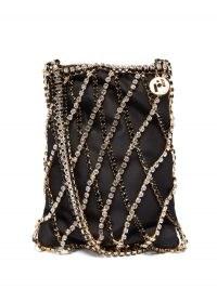 ROSANTICA Greta crystal-net satin shoulder bag | small black embellished bags