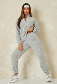 MISSGUIDED grey borg half zip hoodie and joggers co ord set ~ textured jogging bottom sets ~ hoodies ~ casual co-ords