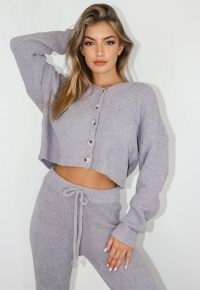 Missguided grey popcorn oversized cardigan | drop shoulder cardigans