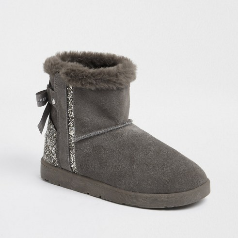 RIVER ISLAND Grey suede quilted faux fur lined boots - flipped