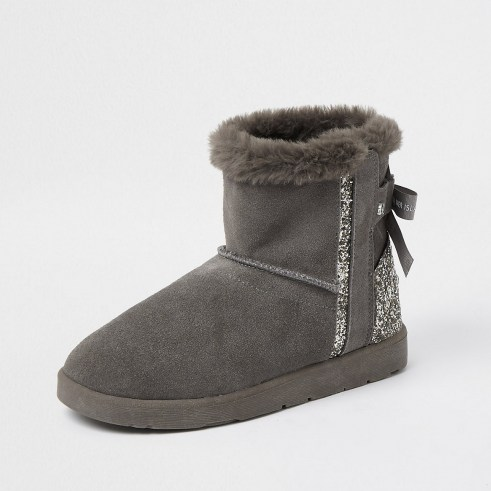 RIVER ISLAND Grey suede quilted faux fur lined boots