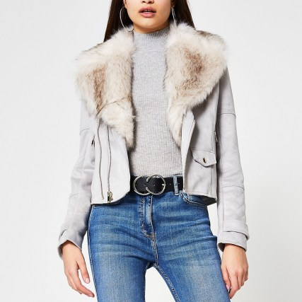 RIVER ISLAND Grey suedette faux fur collar biker jacket - flipped