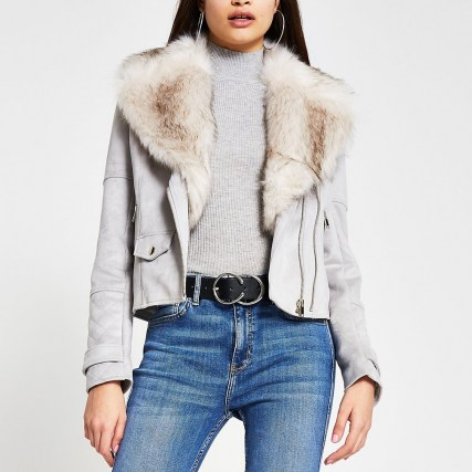 RIVER ISLAND Grey suedette faux fur collar biker jacket