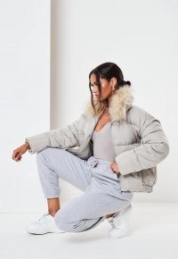 MISSGUIDED grey ultimate faux fur puffer jacket ~ winter jackets