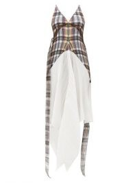BURBERRY Handkerchief-hem check plissé dress ~ asymmetric hemline dresses