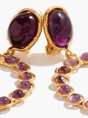 SYLVIA TOLEDANO Happy amethyst clip earrings ~ drop hoop earrings ~ statement hoops ~ luxe style evening jewellery ~ party accessories - flipped