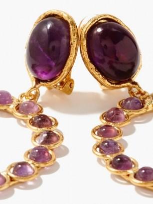 SYLVIA TOLEDANO Happy amethyst clip earrings ~ drop hoop earrings ~ statement hoops ~ luxe style evening jewellery ~ party accessories