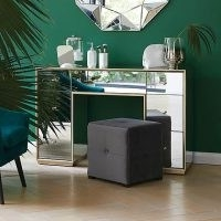 Harriet Mirrored Dressing Table – features a bevelled wooden frame structure boasts an elegant champagne gold brushed effect