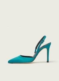 L.K. BENNETT HAYDEN TURQUOISE SATIN OPEN COURTS ~ blue stiletto heel slingbacks
