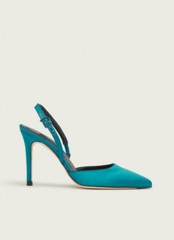 L.K. BENNETT HAYDEN TURQUOISE SATIN OPEN COURTS ~ blue stiletto heel slingbacks - flipped
