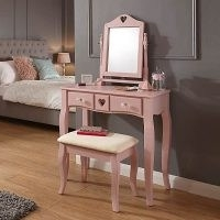 Heart Dressing Table Set – Set includes a stylish dressing table, adjustable mirror and matching padded stool