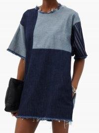 MARQUES'ALMEIDA Hero patchwork upcycled-denim mini dress | frayed edge shift dresses | T-shirt design fashion
