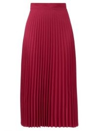 THEBE MAGUGU High-rise pleated crepe midi skirt ~ bright pink skirts