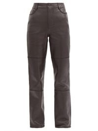 GANNI High-rise whipstitched-leather trousers | brown panelled pants