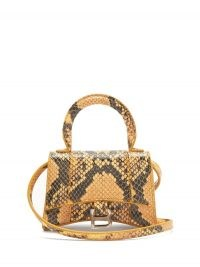 BALENCIAGA Hourglass python-effect leather cross-body bag in beige ~ small luxe bags ~ mini crossbody