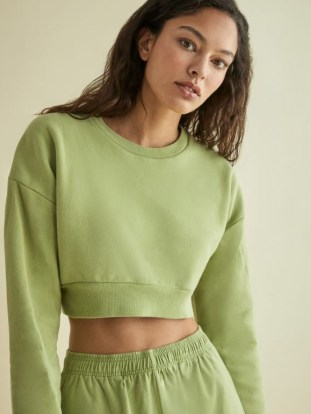 REFORMATION Hunter Crop Sweatshirt Avocado – green cropped sweatshirts - flipped