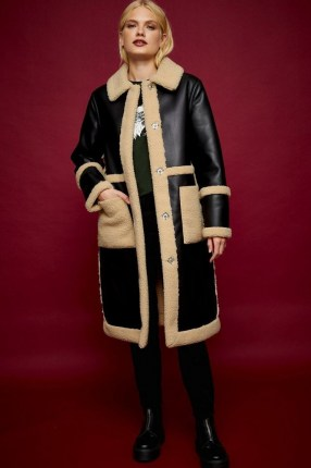TOPSHOP IDOL Black PU And Borg Long Reversible Coat / faux leather and textured fur winter coats