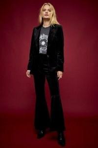TOPSHOP Black Velvet Wide Leg Suit – trouser suits